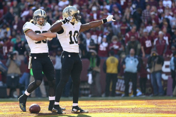 98 Receiving Yards 2 Receiving TD 11 Rushing Yards Brandin Cooks was about the only bright spot on the Saints in their embarrasment up in DC. His effort helped propel KnockingOnEvansDoor to 6-4, and fourth place.